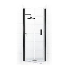 "Paragon Semi-Frameless Continuous Hinge Shower Door, Black, 30""x69"""