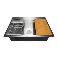 """AKDY 32""""x22""""x9"""" Top Mount Handmade Stainless Steel Kitchen Sink"""