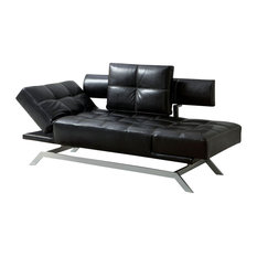 adarn inc black leatherette functional futon sofa chaise with adjustable arms chrome legs chaise lounge sofa modern