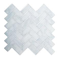 "Herringbone Peel & Stick Wall Tiles, 10x10"", Light Blue, 6 Pieces"