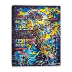 """Night City Graphics Art"" Cityscape Large Canvas Print, 30""x40"""