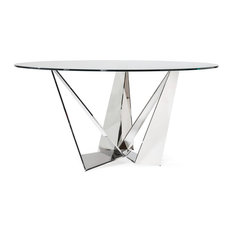 """Modern Serra 59"""" Round Dining Table, Clear Glass"""