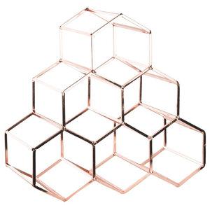 Honeycomb 6-Bottle Wine Rack, Copper