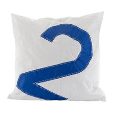 Recycled Sail Big Cushion, White and Blue