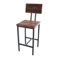 "Reclaimed Wood Industrial Oak Barn Wood Bar Stool, Steel Base Seat Height 25"""