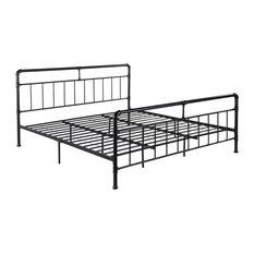 GDF Studio Sally Industrial King Iron Bed Frame, Black