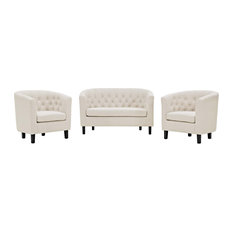 Beige Prospect 3 Piece Upholstered Fabric Loveseat And Armchair Set