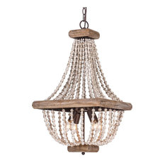 Farmhouse 4-Light Wood Beaded Chandelier Candle Empire Chandeliers