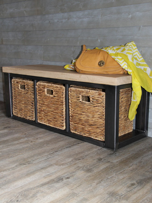Meuble bas de rangement - banc en bois et métal