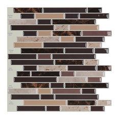 "12""x12"" Peel and Stick Backsplash Wall Tile, Long Marble Design, Set of 10"