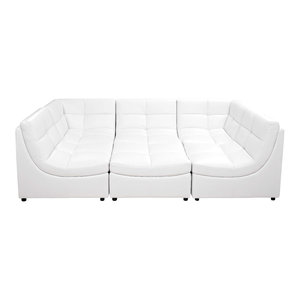 Cloud Modular Sectional and Ottoman, 6-Piece Set, White