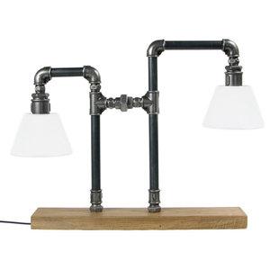 Steel Pipe Table Lamp, 2 Bulbs