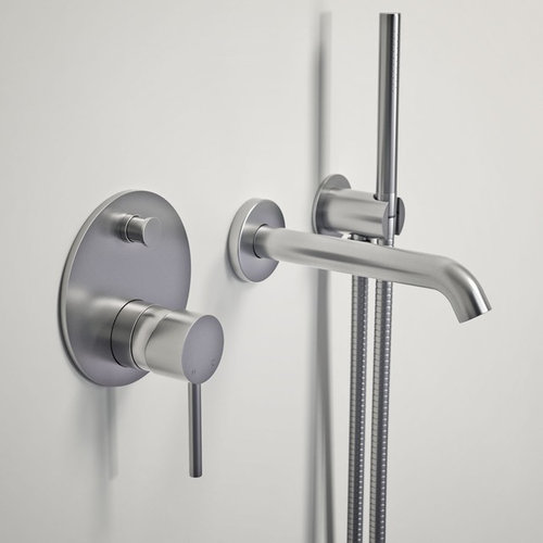 LUSSO LUXE WALL MOUNTED BATH TAP WITH VALVE AND HANDHELD SHOWER KIT BRUSHED  STAI   Products