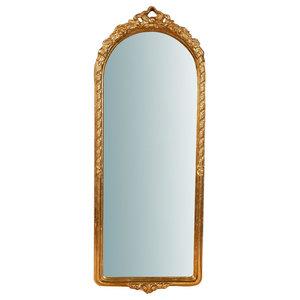 Baroque Wooden Wall Mirror, 35x90 cm