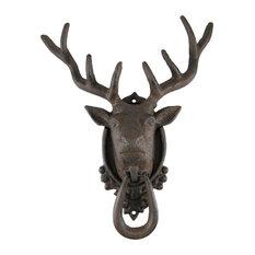 Zeckos   Antiqued Finish 8 Point Buck Deer Door Knocker   Door Knockers