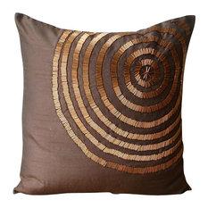 Brown Spiral Throw Pillows Cover, Art Silk 18x18 Pillow Case, Magical Illusion