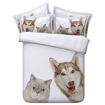 Duvet Life - 3D White and Brown Cat and Dog, 4-Piece Duvet Cover Set, Queen - We all love Cats and Dogs for making our lives enjoyable. These wonderful pets are a continuous source of love and affection around us. We have brought this love into your bed room with our 3D White and Brown Cat and Dog Bedding Set which is made of extra soft material.