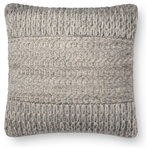 "Loloi - Loloi Decorative Throw Pillow Cover With Poly, Gray, 18""x18"" - Wool woven design on cotton base. 18""x18"". Made in India."