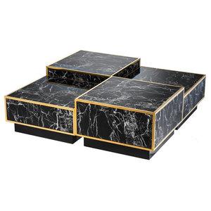 "Marble Coffee Table, Eichholtz Concordia, Black, 26""x26""x16"""