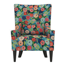 Orilla Shelter High Back Wing Chair, Vibrant Poppy Floral