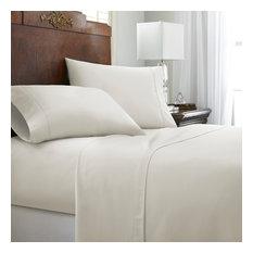 Becky Cameron Ultra Soft Chevron Design 4-Piece Bed Sheet Set, Ivory, Calif