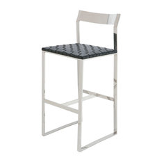 Camille Stainless Steel Leather Stool Black Counter Height