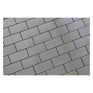 "Stainless Steel Brick Mosaic Tile, Chip Size: 2""x4"", 12""x12"""