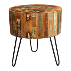 Driftwood Reclaimed Wood Drum Side Table