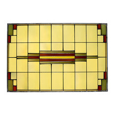 Arts and Crafts Prairie Window Art Glass Panel, Horizontal