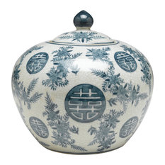 Blue and White Round Jar With Lid