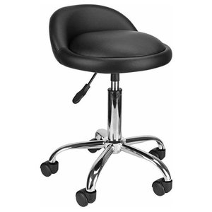 Modern Swivel Bar Stool Upholstered, Black Faux Leather With Adjustable Height