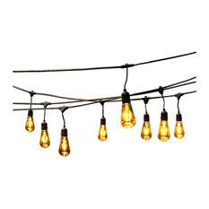 48' Oversized Edison Light Bulbs Black and Gold, All Weather LED String Light