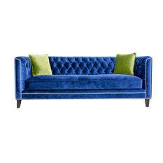 Pasargad   Pasargad Victoria Collecion Tufted Velvet Sofa, Navy   Sofas
