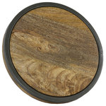 Manor Luxe - Abbey Artisan Wood and Metal Round Trivet, Natural, 11''Round - Bring more to the table with our vintage reproduction tray! Thick solid wood and a durable metal frame lets you serve rustic beauty with every meal.