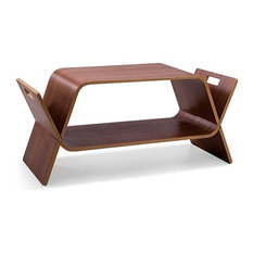 Modern Bent Ply Accent Table Media Storage Offi Embrace Walnut