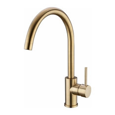 Traditional Single Lever Kitchen Sink Tap, Solid Brass With Swivel Spout, Gold