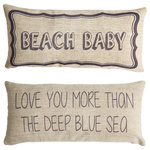 Evelyn Hope Collection - Beach Baby Coastal Style Nursery Double Sided Pillow - Evelyn hope collection pillows are unique, they have specially designed messages on the front and back. Zippered covers are easy to change for every reason and season. Order is for one pillow with insert, with a different design on each side. Inserts are USA made, mold resistant polyester.