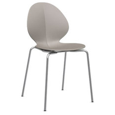 calligaris basil stackable side chair chromed and matte taupe dining chairs