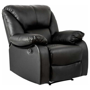 Modern Recliner in Faux Leather with Padded Arm and Backrest, Black