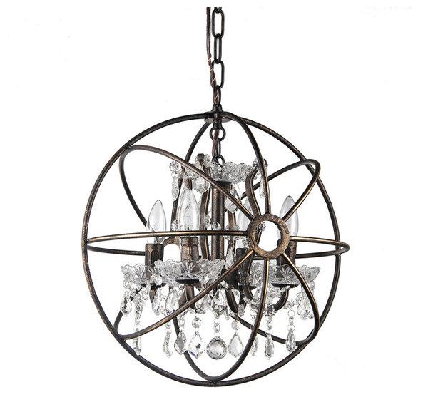 pasadena cage crystal chandelier  antique bronze - contemporary - chandeliers