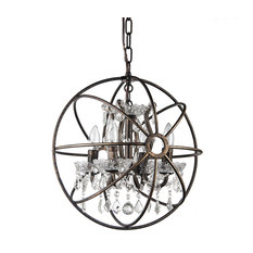 Dover 4-Light Antique Bronze Vintage Globe Cage Chandelier With Crystals, 16""
