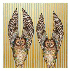 """Owl Duo, Embellished"" Stretched Canvas Wall Art by Eli Halpin"