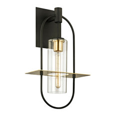 Smyth Large 1-Light Outdoor Wall Sconce, Bronze and Brass Finish, Clear Glass