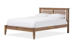 Loafey Mid-Century Modern Solid Walnut Wood Window-Pane Style Bed, King