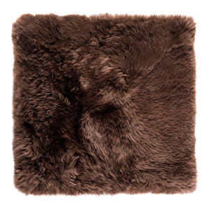 Square New Zealand Sheepskin Rug, 70x70 cm, Brown