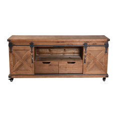 Presley 2 Door, 2 Drawer, and Open Center TV Stand, Natural Brown