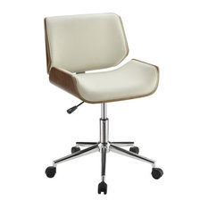 coaster coaster faux leather office chair ecru and chrome office chairs