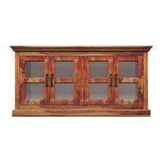 Dallas Ranch Solid Wood Glass Door Dining Rustic Buffet