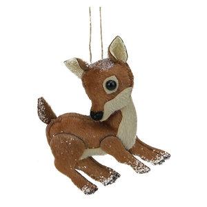 "6"" Glittered Brown and White Plush Stuffed Deer Christmas Ornament"