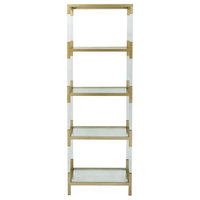 Modern Reflections Metal and Glass Acryl Shelf, Gold, Clear